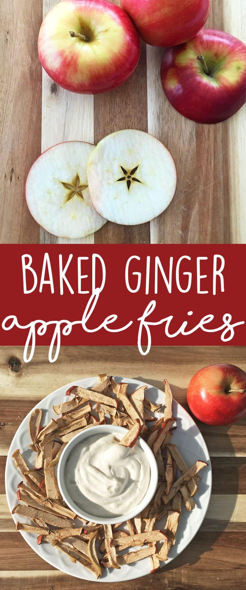 Healthy snack idea and easy to make in batches: Baked Ginger Apple Fries with a cinnamon yogurt dip! Fun and delicious snack for kids AND adults. | karissasvegankitchen.com