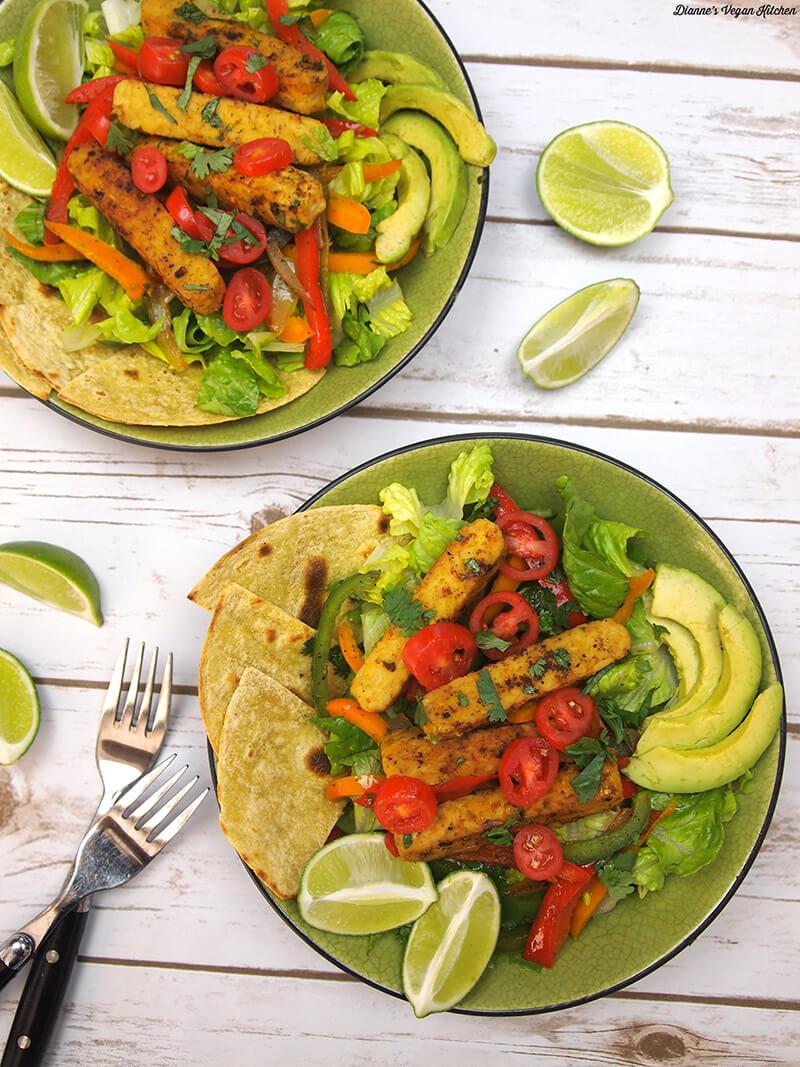 Tempeh Fajita Salad - Hearty Vegan Salad Recipes