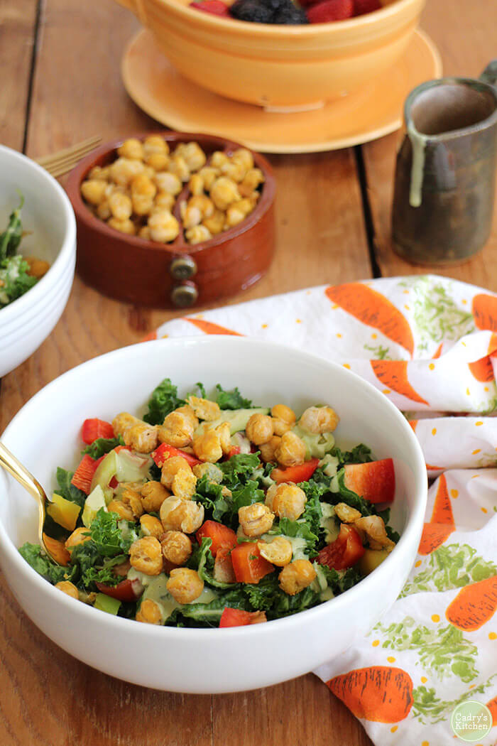 Kale Salad with Chickpeas - Hearty Vegan Salad Recipes