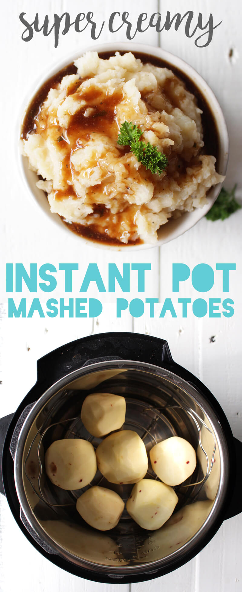 These are seriously the creamiest mashed potatoes EVER, thanks to the instant pot - without any oil, butter, or cream! Totally vegan and healthy.