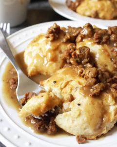 Vegan Sausage Gravy and Biscuits
