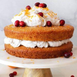 Vegan Orange Cake with Vanilla Coconut Whip Frosting
