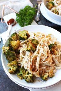 Oil-Free Vegan Alfredo with Cajun Broccoli