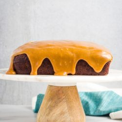 A square chocolate cake drizzled with peanut butter frosting.
