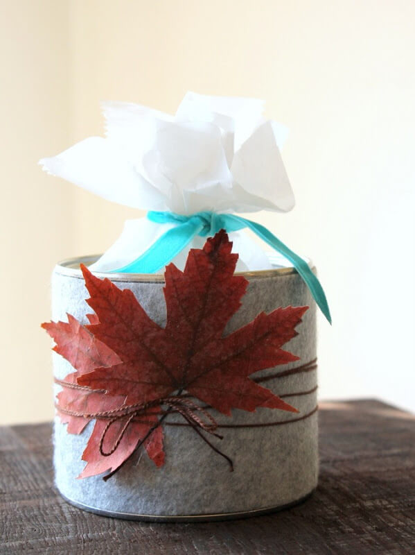 Upcycled Coffee Can Ideas: Grey Felt Fall Treat Tin - carolynshomework