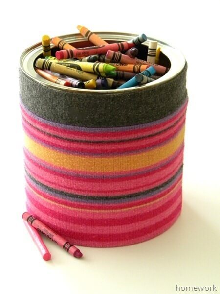 Upcycled Coffee Can Ideas: Sweater Storage Can