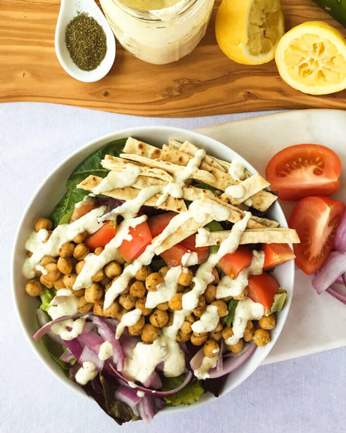 Healthy Vegan Gyro Salad with Chickpeas & Tzatziki Dressing