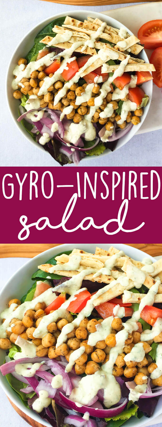 Vegan Gyro Salad Recipe: This veggie-packed gyro-inspired salad is topped with greek-spiced chickpeas, crispy baked flatbread strips for crunch, and a creamy vegan tzatziki sauce. Healthy vegan salad recipes don't have to be boring!
