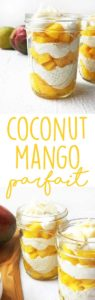Coconut Mango Parfait - a healthy vegan breakfast or dessert recipe, bursting with tropical flavors.