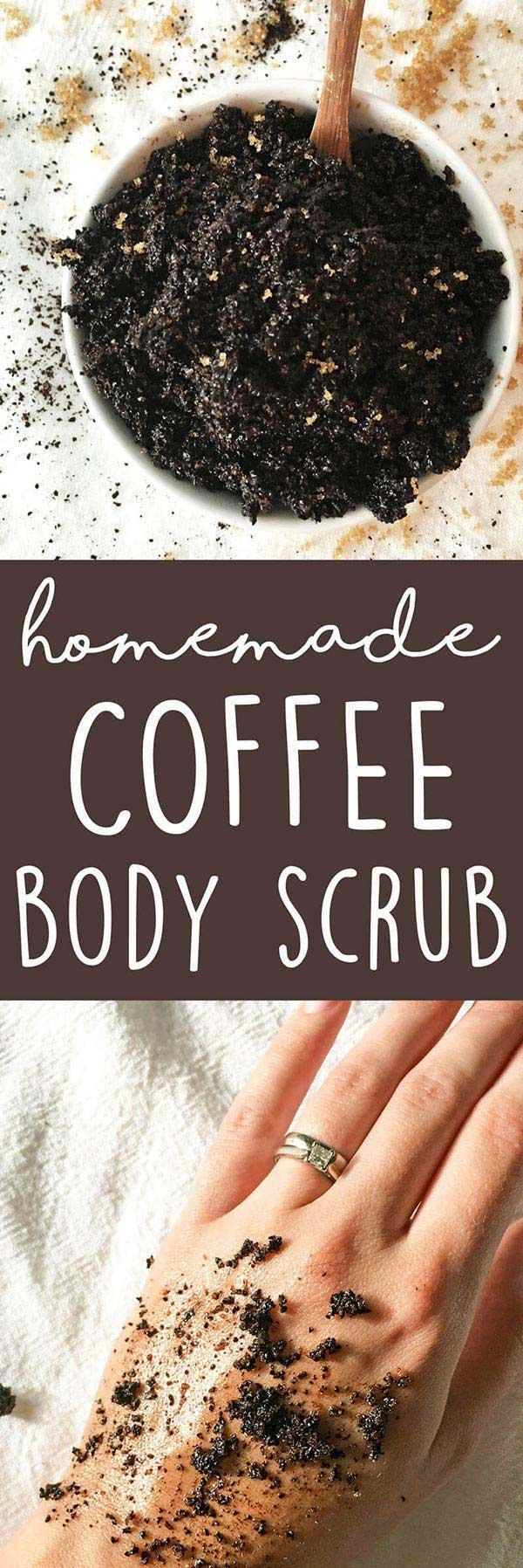 DIY Coffee Body Scrub - this 3-ingredient homemade body scrub recipe is great for dry skin & exfoliating. LOVE it! | www.www.karissasvegankitchen.com - Coffee Scrub