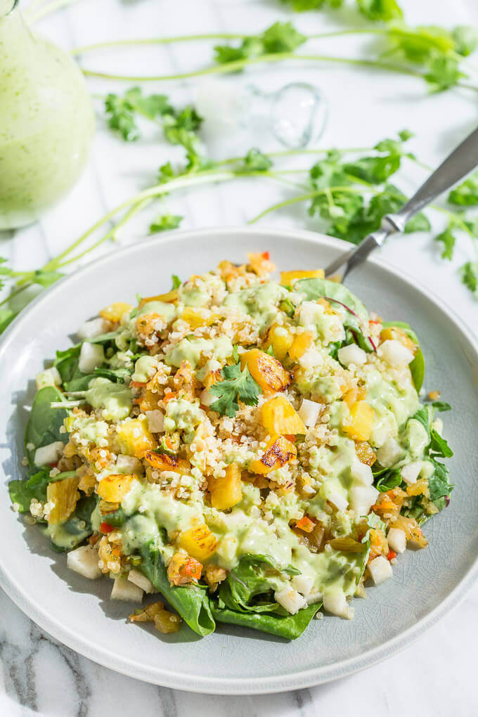 Tropical quinoa salad with pineapple salsa