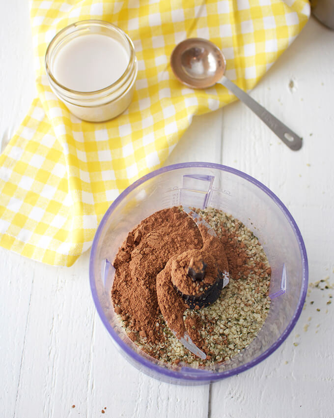Healthy chocolate hemp seed butter