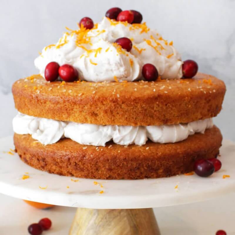 This beautiful vegan orange cake is a nice deviation from the traditional Thanksgiving desserts.