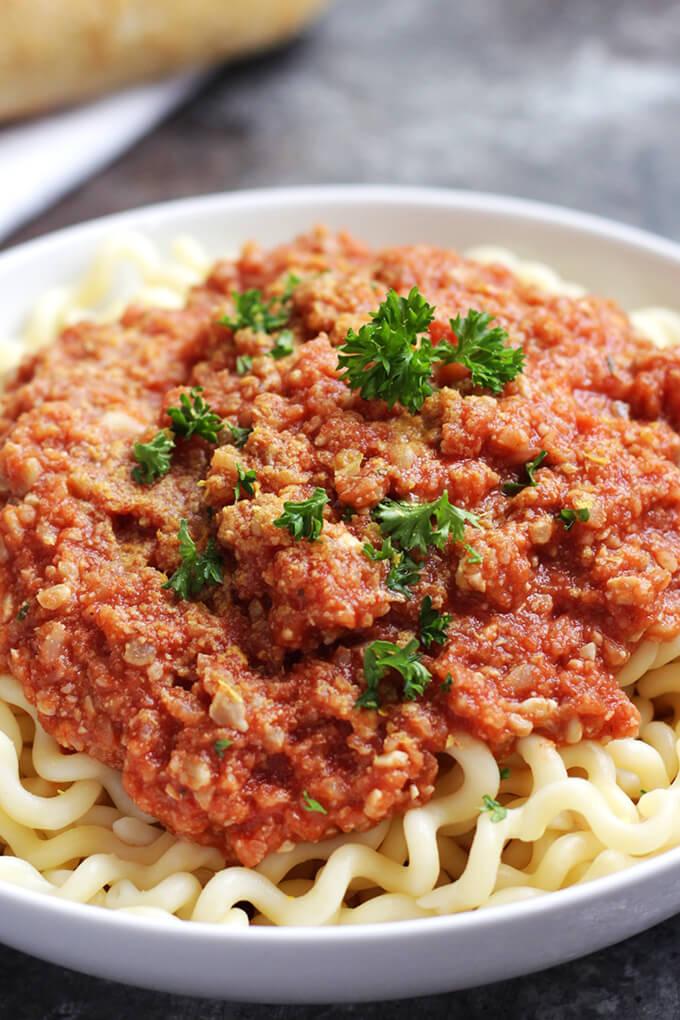 Vegan Bolognese Sauce - oil-free, nut-free