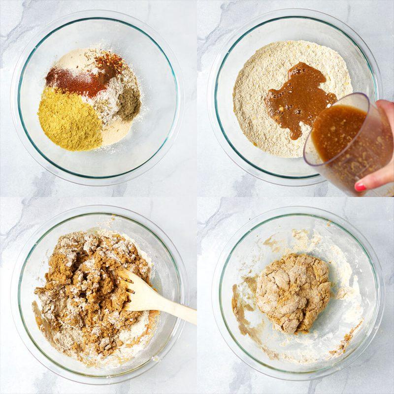 Vegan Maple Breakfast Sausage links made with seitan