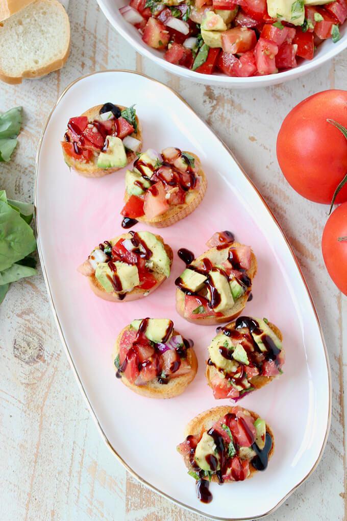 Vegan 4th of July Food - Avocado Bruschetta Appetizer