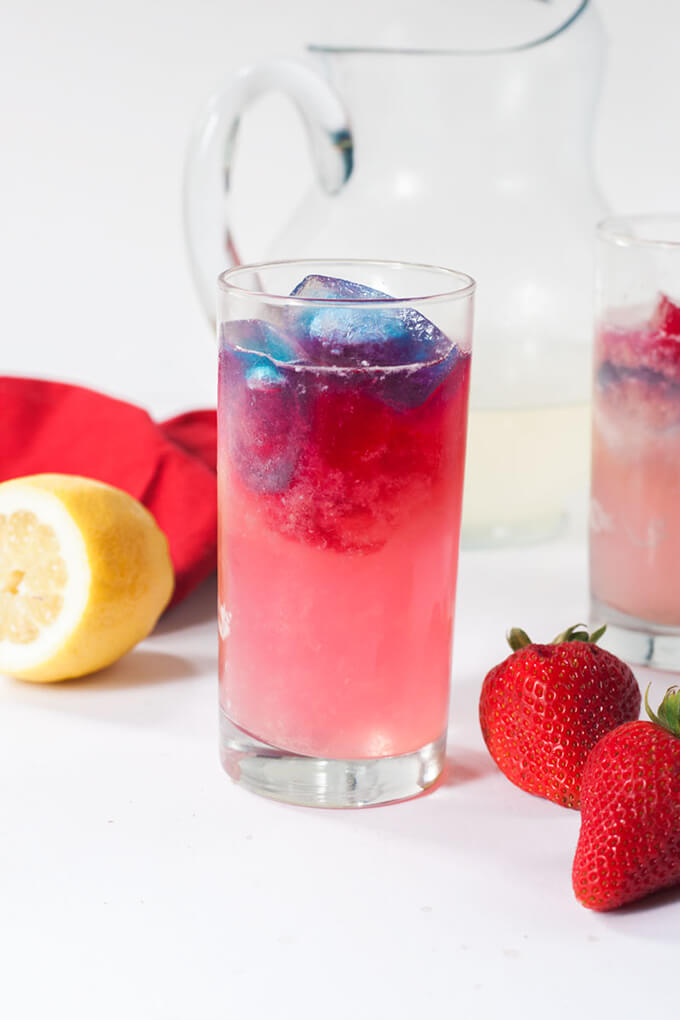 4th of July red, white and blue ginger lemoneade
