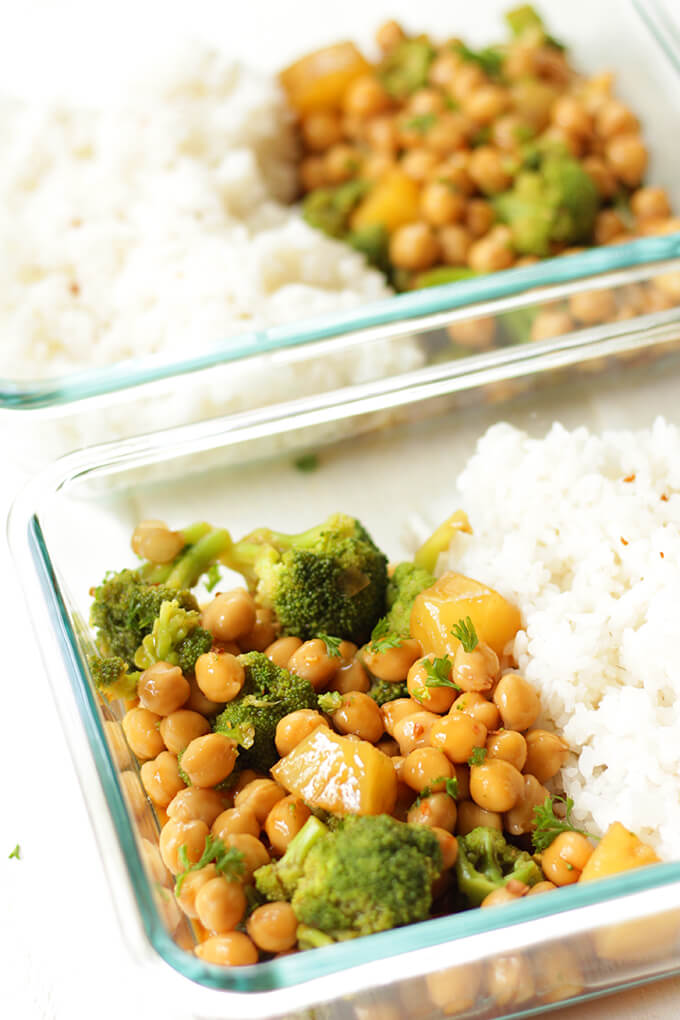 Vegan teriyaki meal prep bowls made with chickpeas and broccoli.