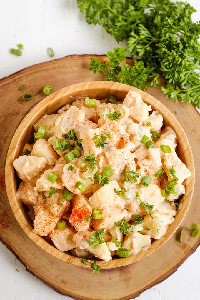 Healthy potato salad made with vegan white bean mayo