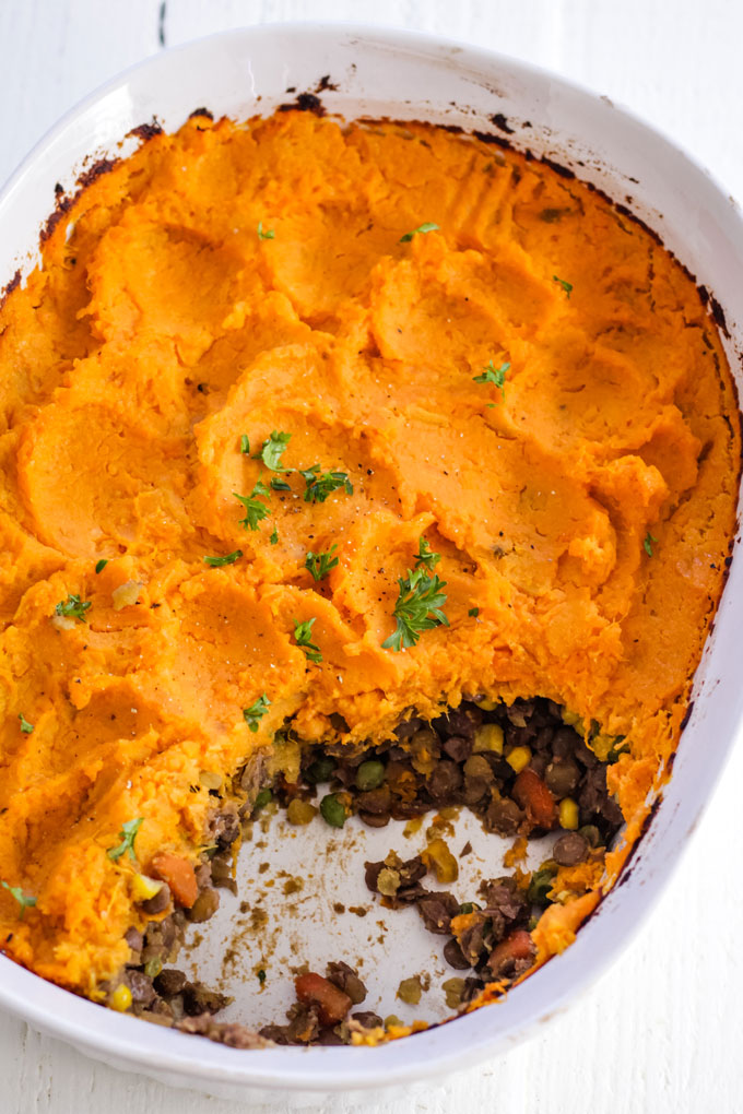 Sweet potato shepherd's pie, vegan and oil-free