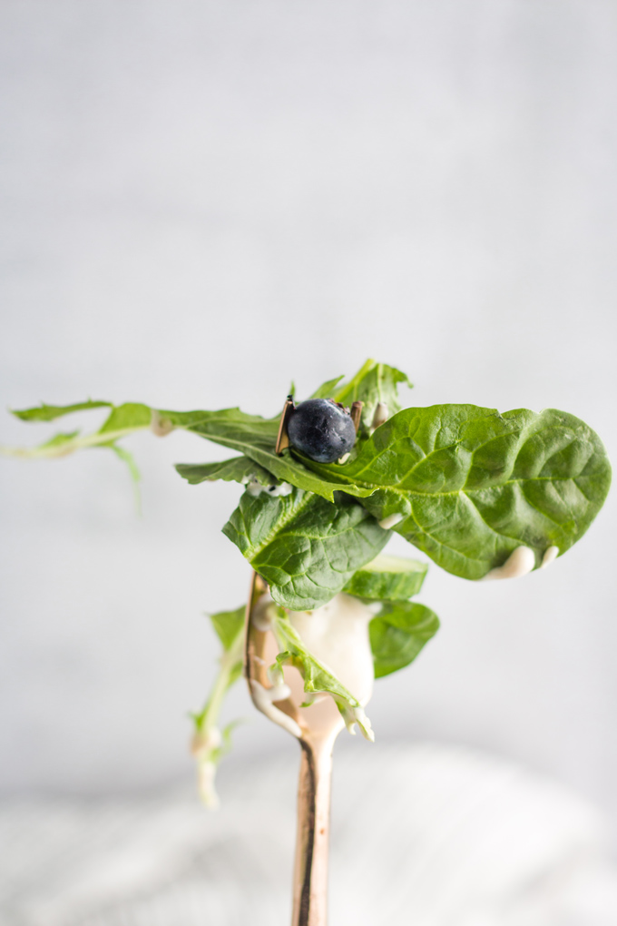 Lettuce, tahini dressing, and a blueberry on a fork.