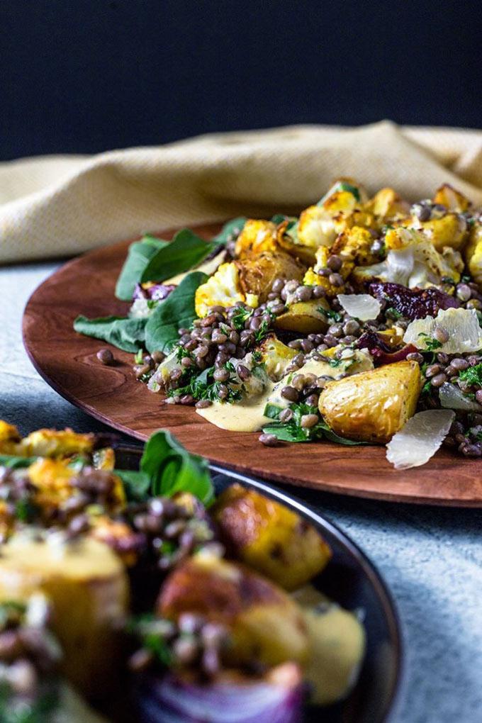 Potato, cauliflower sand lentil vegan salad