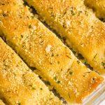 A pan full of vegan breadsticks.