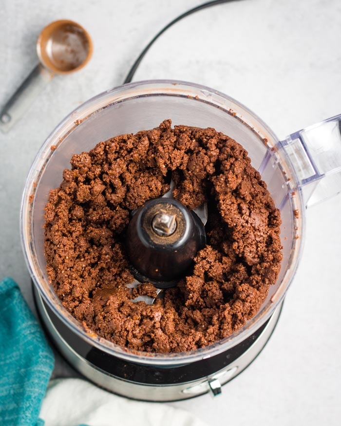 Protein ball mixture in a food processor.