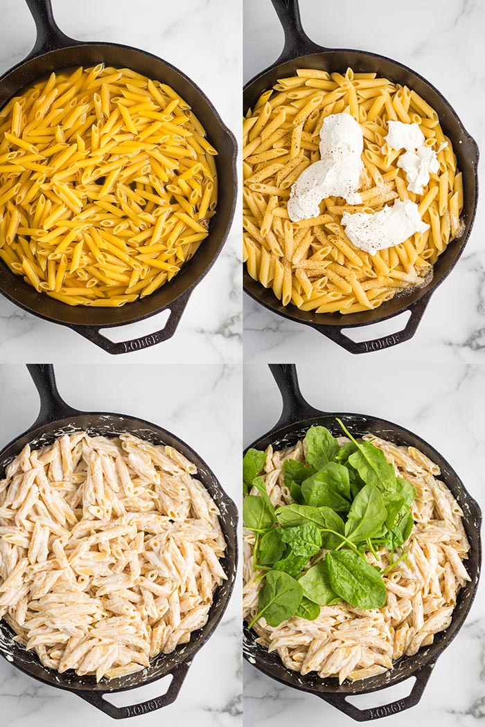 Step-by-step for vegan one pot creamy spinach pasta