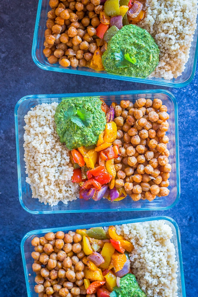 Chickpea fajita meal prep bowls with quinoa.