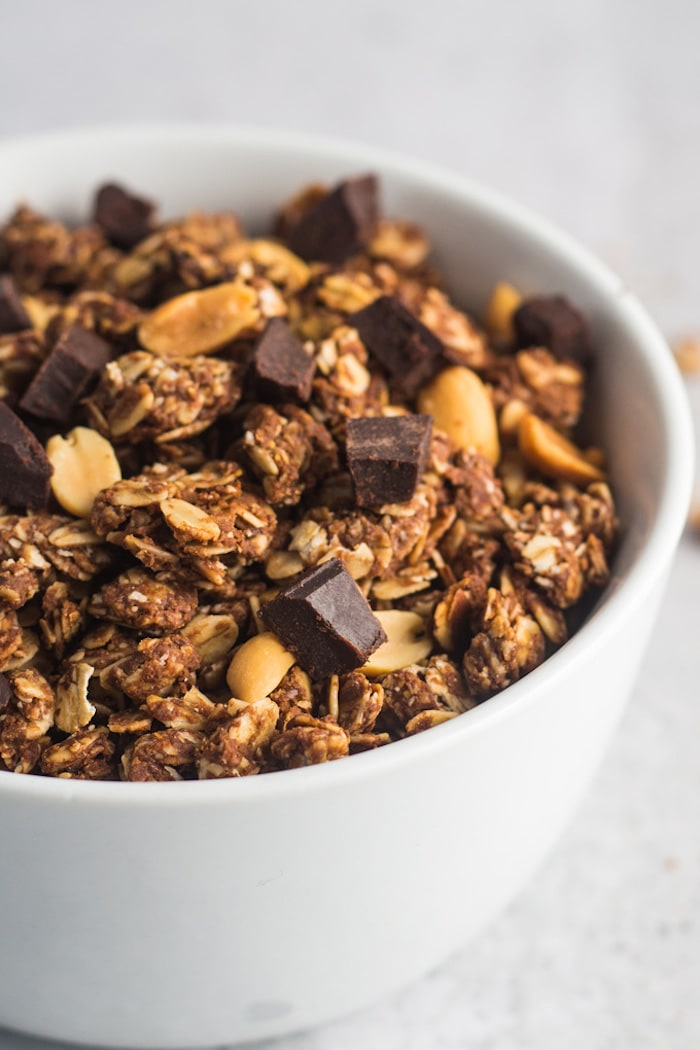 Chocolate Peanut Butter Granola in a bowl.