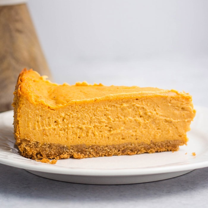 Your vegan thanksgiving spread is not complete without this incredibly impressive pumpkin cheesecake! So creamy and full of classic pumpkin flavors.