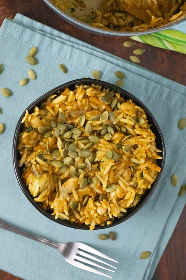 Easy Pumpkin Baked Orzo with Kale, Carrots, & White Beans