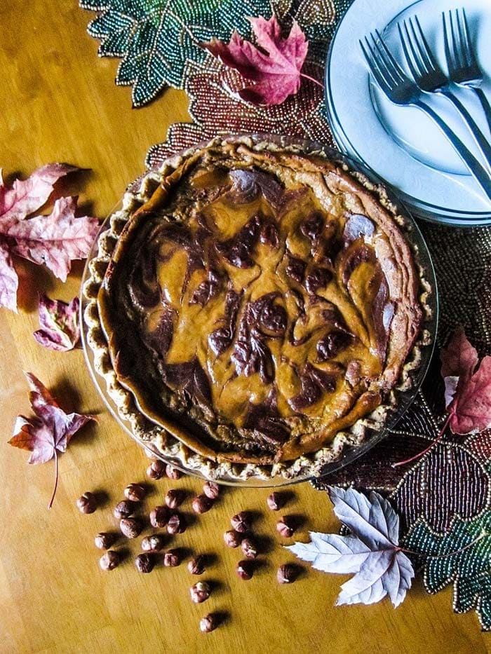 Vegan Chocolate Hazelnut Swirled Pumpkin Pie