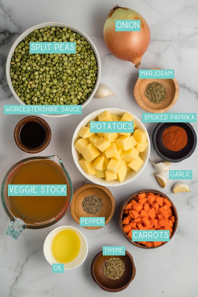 Ingredients for split pea soup: green split peas, onions, thyme, carrots, veggie stock, and more.